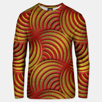 Thumbnail image of Red Leather and Gold Circulate Wave Pattern Cotton sweater, Live Heroes