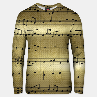 Thumbnail image of Abstract Music notes on golden background Cotton sweater, Live Heroes