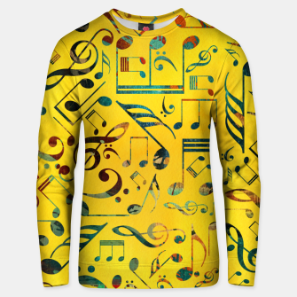 Thumbnail image of Fun Colorful  Music Notes Pattern on yellow watercolor Cotton sweater, Live Heroes