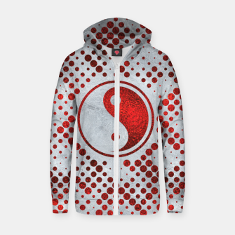 Thumbnail image of Beautiful Red Metallic Yin yang on mother of pearl  Cotton zip up hoodie, Live Heroes