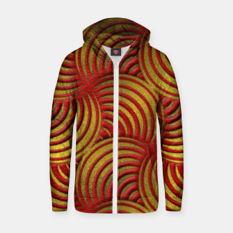 Thumbnail image of Red Leather and Gold Circulate Wave Pattern Cotton zip up hoodie, Live Heroes