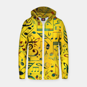 Thumbnail image of Fun Colorful  Music Notes Pattern on yellow watercolor Cotton zip up hoodie, Live Heroes