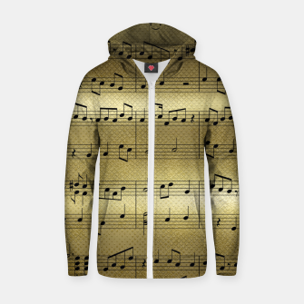 Thumbnail image of Abstract Music notes on golden background Cotton zip up hoodie, Live Heroes