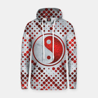 Thumbnail image of Beautiful Red Metallic Yin yang on mother of pearl  Cotton hoodie, Live Heroes