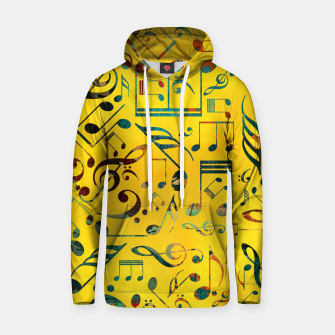 Thumbnail image of Fun Colorful  Music Notes Pattern on yellow watercolor Cotton hoodie, Live Heroes