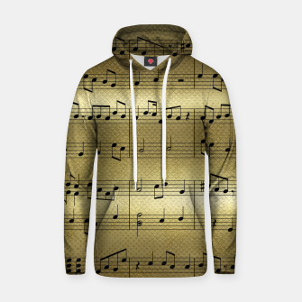 Thumbnail image of Abstract Music notes on golden background Cotton hoodie, Live Heroes