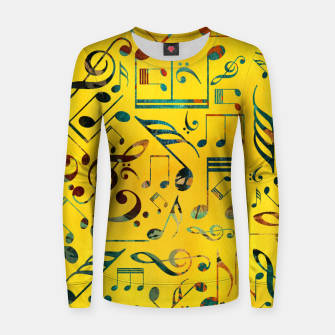 Miniaturka Fun Colorful  Music Notes Pattern on yellow watercolor Woman cotton sweater, Live Heroes