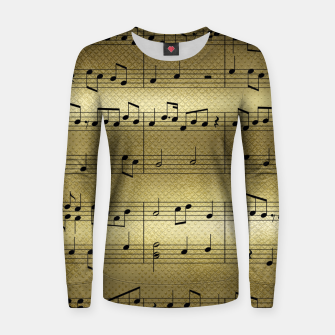 Miniaturka Abstract Music notes on golden background Woman cotton sweater, Live Heroes