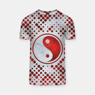 Thumbnail image of Beautiful Red Metallic Yin yang on mother of pearl  T-shirt, Live Heroes
