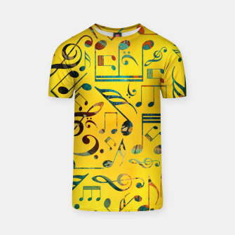 Miniaturka Fun Colorful  Music Notes Pattern on yellow watercolor T-shirt, Live Heroes