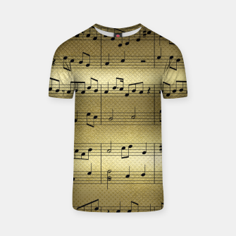 Miniaturka Abstract Music notes on golden background T-shirt, Live Heroes