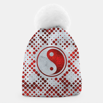Thumbnail image of Beautiful Red Metallic Yin yang on mother of pearl  Beanie, Live Heroes