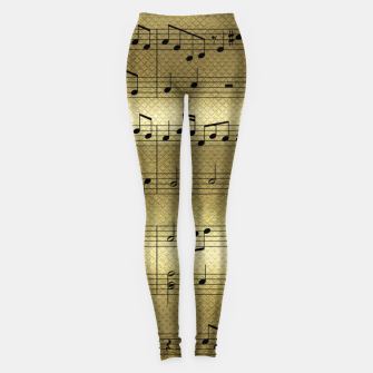 Miniaturka Abstract Music notes on golden background Leggings, Live Heroes