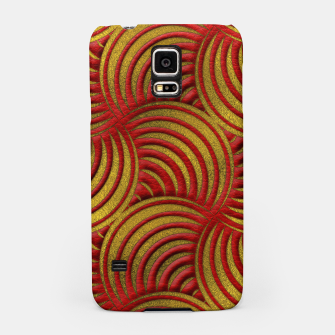 Thumbnail image of Red Leather and Gold Circulate Wave Pattern Samsung Case, Live Heroes