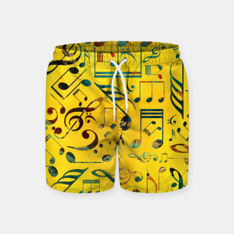 Miniaturka Fun Colorful  Music Notes Pattern on yellow watercolor Swim Shorts, Live Heroes