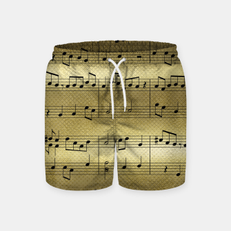 Miniaturka Abstract Music notes on golden background Swim Shorts, Live Heroes