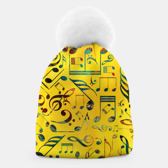Miniaturka Fun Colorful  Music Notes Pattern on yellow watercolor Beanie, Live Heroes
