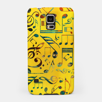 Miniaturka Fun Colorful  Music Notes Pattern on yellow watercolor Samsung Case, Live Heroes