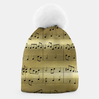 Miniaturka Abstract Music notes on golden background Beanie, Live Heroes