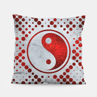 Thumbnail image of Beautiful Red Metallic Yin yang on mother of pearl  Pillow, Live Heroes