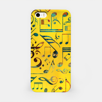 Miniaturka Fun Colorful  Music Notes Pattern on yellow watercolor iPhone Case, Live Heroes