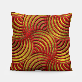 Thumbnail image of Red Leather and Gold Circulate Wave Pattern Pillow, Live Heroes
