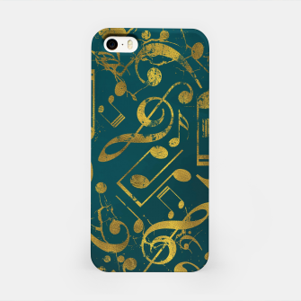 Miniaturka Golden Grunge  Musical notes pattern on teal  iPhone Case, Live Heroes