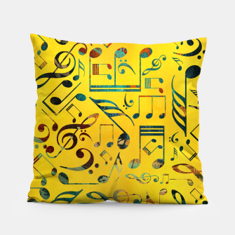 Miniaturka Fun Colorful  Music Notes Pattern on yellow watercolor Pillow, Live Heroes