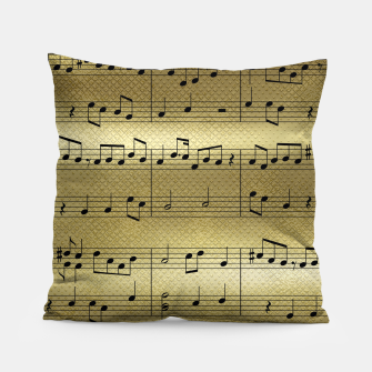 Miniaturka Abstract Music notes on golden background Pillow, Live Heroes