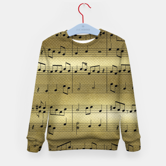 Miniaturka Abstract Music notes on golden background Kid's sweater, Live Heroes