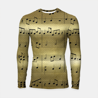 Miniatur Abstract Music notes on golden background Longsleeve rashguard , Live Heroes