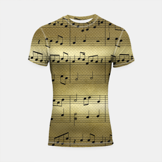 Miniatur Abstract Music notes on golden background Shortsleeve rashguard, Live Heroes