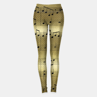 Miniatur Abstract Music notes on golden background Leggings, Live Heroes
