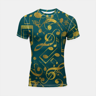 Miniatur Golden Grunge  Musical notes pattern on teal  Shortsleeve rashguard, Live Heroes