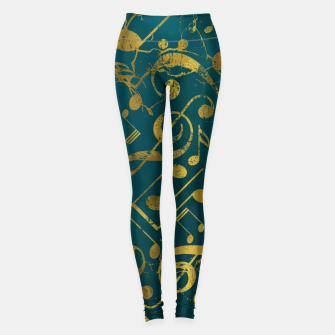Miniatur Golden Grunge  Musical notes pattern on teal  Leggings, Live Heroes