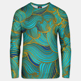 Thumbnail image of Golden Embossed  Swirl Wave Pattern on Blue Cotton sweater, Live Heroes