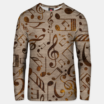 Miniatur Golden pyrography  Musical notes pattern on wood Cotton sweater, Live Heroes