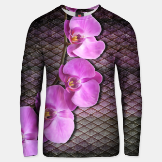 Thumbnail image of Gentle Purple Flower brunch on grunge rust Cotton sweater, Live Heroes