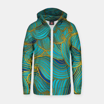 Thumbnail image of Golden Embossed  Swirl Wave Pattern on Blue Cotton zip up hoodie, Live Heroes