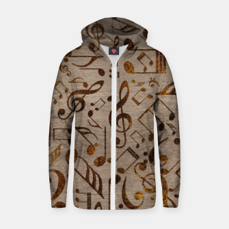 Miniatur Golden pyrography  Musical notes pattern on wood Cotton zip up hoodie, Live Heroes