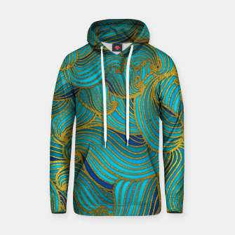 Thumbnail image of Golden Embossed  Swirl Wave Pattern on Blue Cotton hoodie, Live Heroes