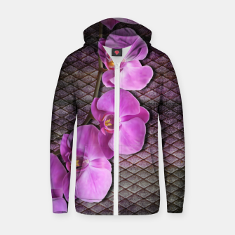 Thumbnail image of Gentle Purple Flower brunch on grunge rust Cotton zip up hoodie, Live Heroes