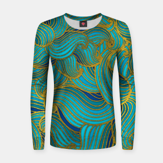 Thumbnail image of Golden Embossed  Swirl Wave Pattern on Blue Woman cotton sweater, Live Heroes