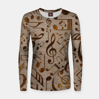 Miniatur Golden pyrography  Musical notes pattern on wood Woman cotton sweater, Live Heroes