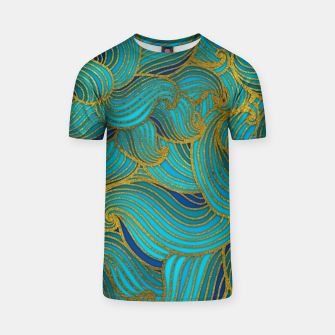 Thumbnail image of Golden Embossed  Swirl Wave Pattern on Blue T-shirt, Live Heroes