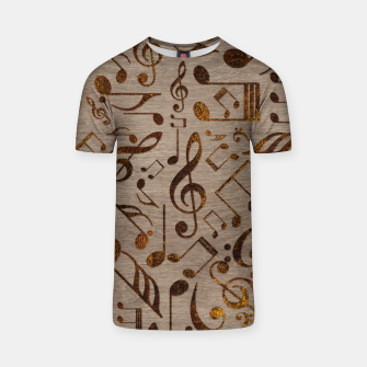 Miniatur Golden pyrography  Musical notes pattern on wood T-shirt, Live Heroes