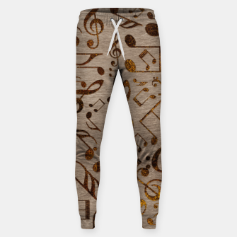 Miniatur Golden pyrography  Musical notes pattern on wood Cotton sweatpants, Live Heroes