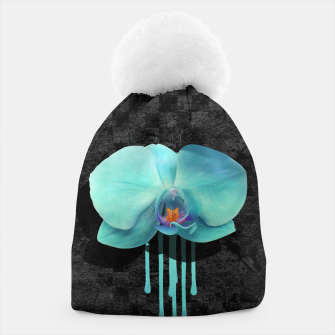 Gentle Blue Flower  on grunge checkered rust Beanie thumbnail image