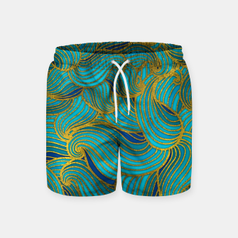 Thumbnail image of Golden Embossed  Swirl Wave Pattern on Blue Swim Shorts, Live Heroes