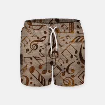 Miniatur Golden pyrography  Musical notes pattern on wood Swim Shorts, Live Heroes
